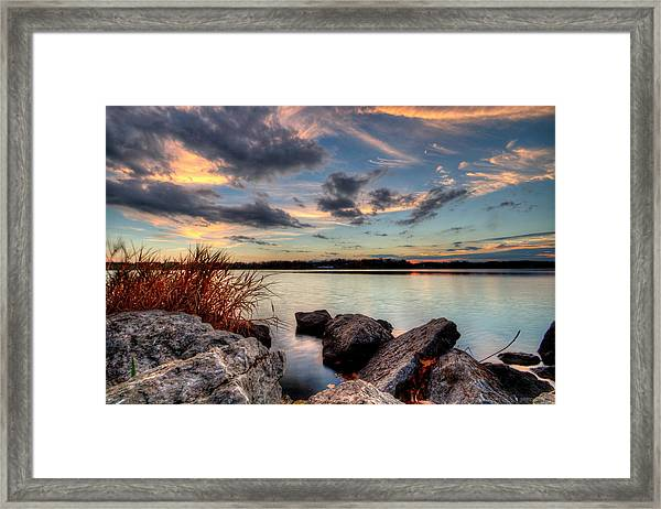Ohio Fall Sunset Framed Print