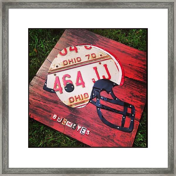 Ohio State #buckeyes #football Helmet - Framed Print
