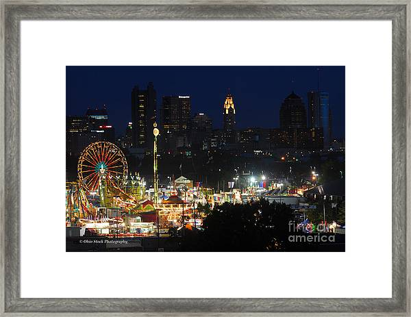 D3l-464 Ohio State Fair With Columbus Skyline Framed Print