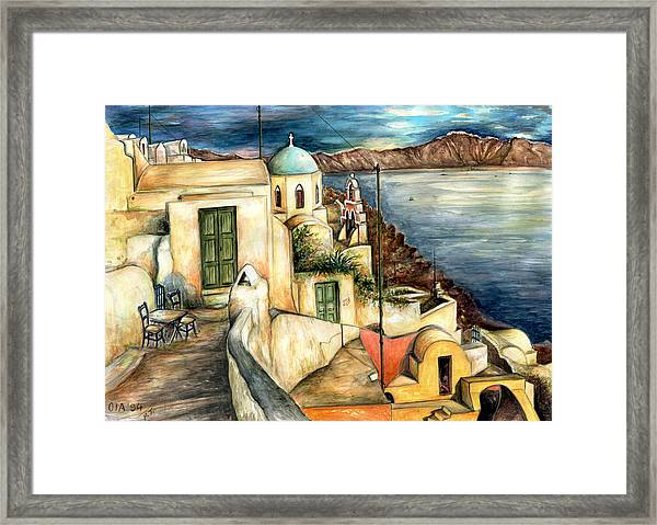 Oia Santorini Greece - Watercolor Framed Print