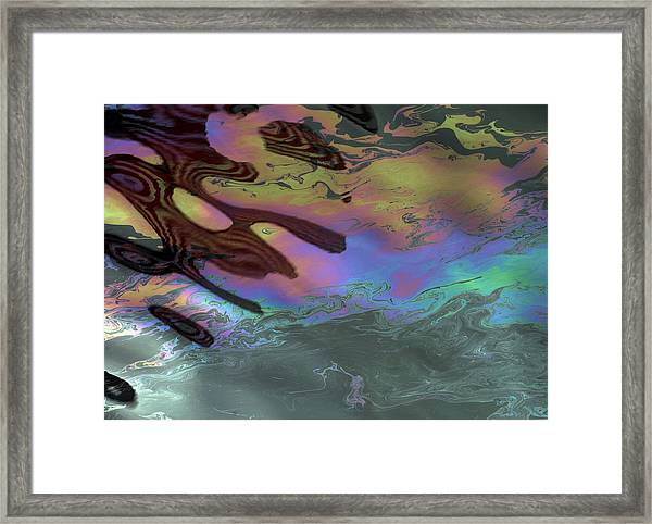 Oil And Flag At Pearl Harbor Framed Print