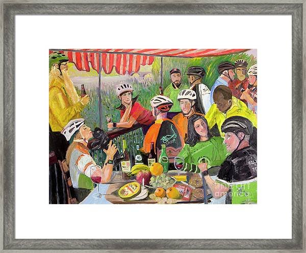 Oil- Luncheon Of The Cycling Party Framed Print