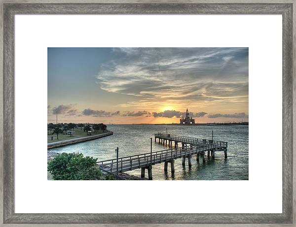 Oil Rig In Gulf Framed Print