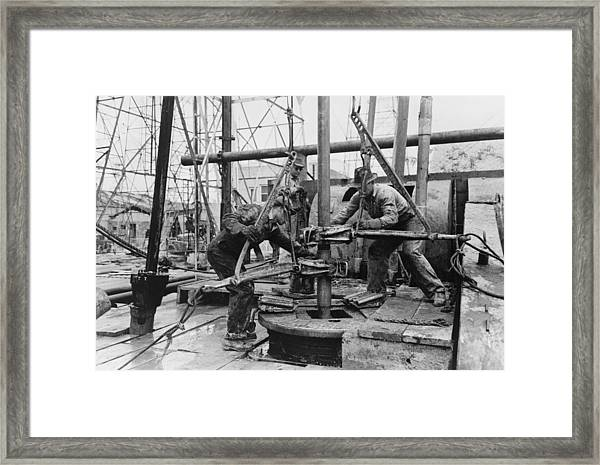 Oil Rig Workers, Called Roughnecks Framed Print