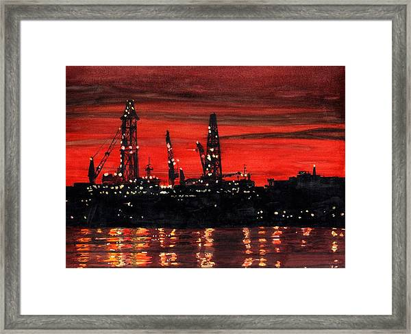 Framed Print featuring the painting Oil Rigs Night Construction Portland Harbor by Dominic White