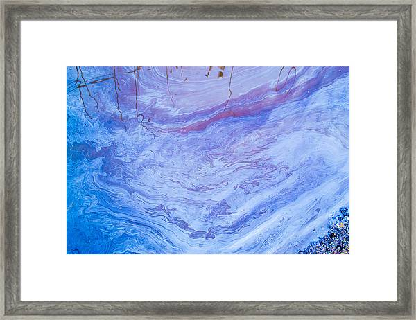 Oil Spill On Water Abstract Framed Print