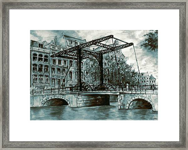 Old Amsterdam Bridge In Dutch Blue Water Colors Framed Print
