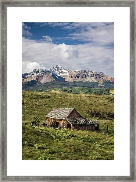 Old Barn And Wilson Peak Vertical Framed Print