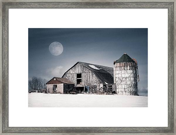 Old Barn And Winter Moon - Snowy Rustic Landscape Framed Print