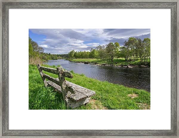 Old Bench Along Spey River, Scotland Framed Print
