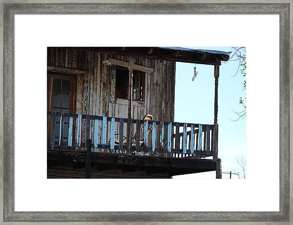 Old Blue Balcony Framed Print