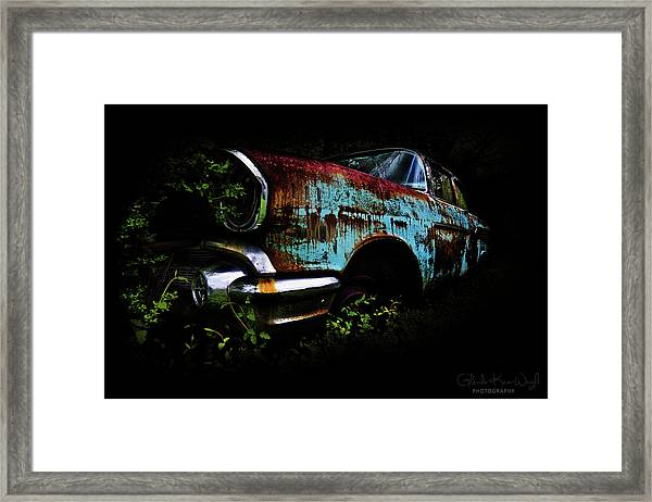 Framed Print featuring the photograph Old Blue Chevy by Glenda Wright
