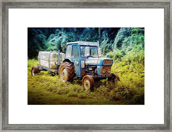 Old Blue Ford Tractor Framed Print