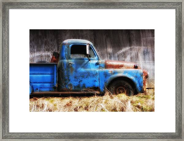 Old Blue Truck Framed Print