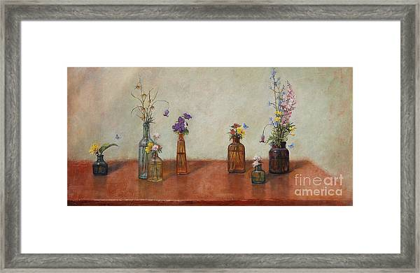 Old Bottles And Wildflowers Framed Print
