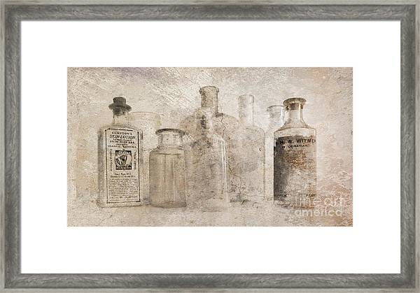 Old Bottles With Texture Framed Print