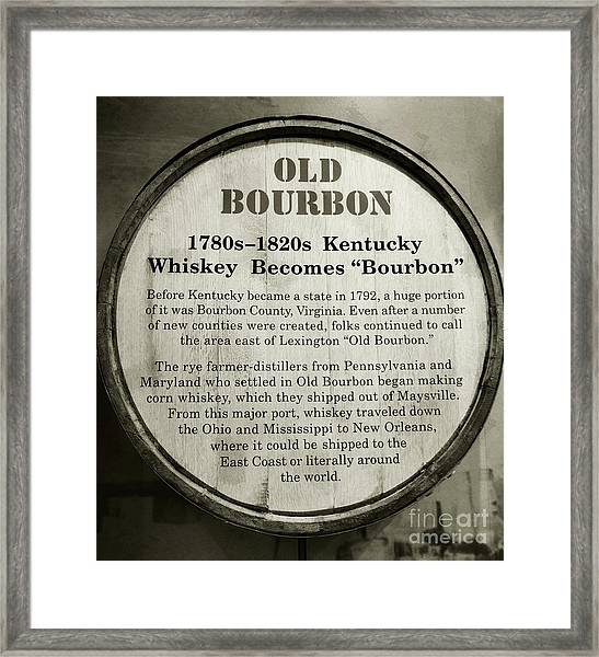 Framed Print featuring the photograph Old Bourbon by Mel Steinhauer