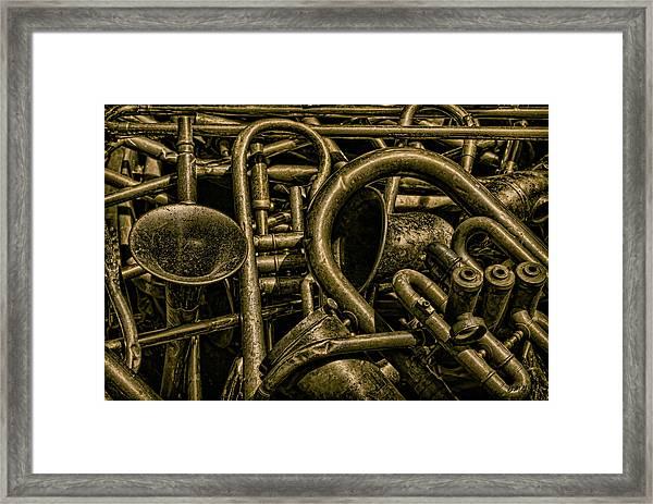 Old Brass Musical Instruments Framed Print