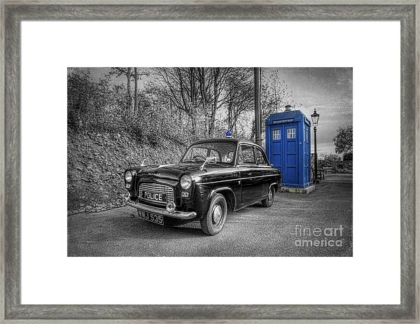 Old British Police Car And Tardis Framed Print