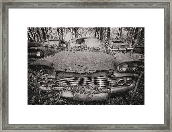Old Car City In Black And White Framed Print