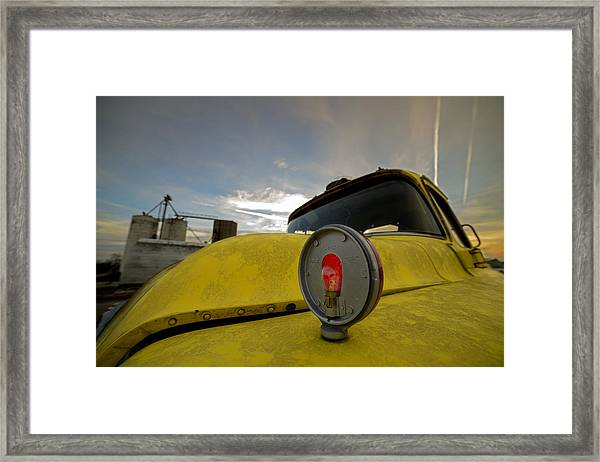 Old Chevy Truck With Grain Elevators In The Background Framed Print