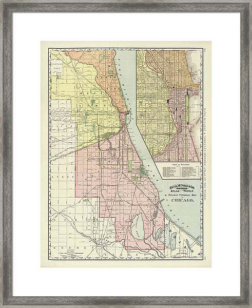Old Chicago Map By Rand Mcnally And Company - 1892 Framed Print