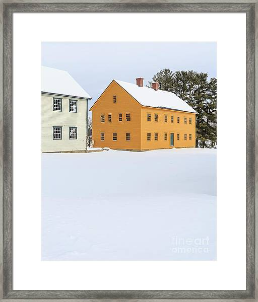 Old Colonial Wood Framed Houses In Winter Framed Print