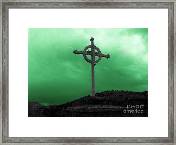 Old Cross - Green Sky Framed Print