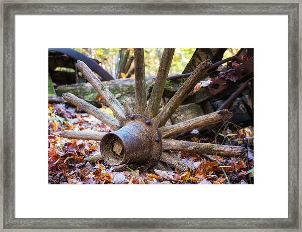Old Decaying Wagon Wheel Framed Print