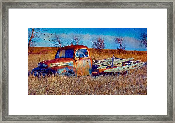 Old Ford F5 Truck Abandoned In Field Framed Print