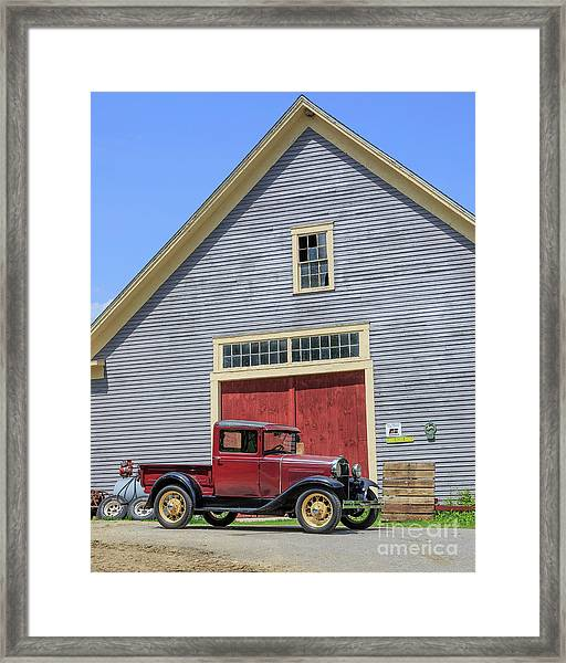 Old Ford Model A Pickup In Front Barn Framed Print
