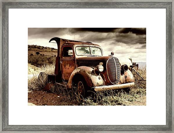 Old Ford Truck In Desert Framed Print