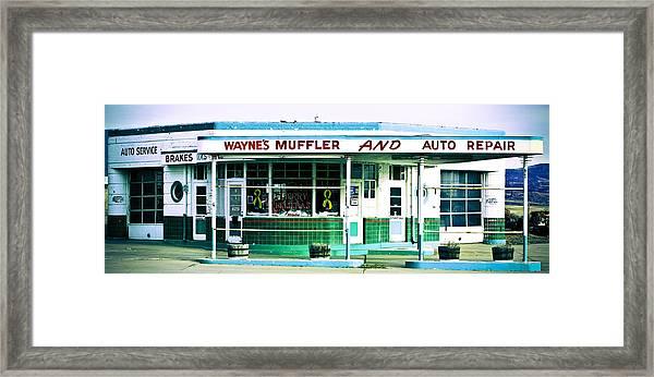 Old Gas Station Green Tile Framed Print