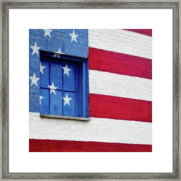 Old Glory, American Flag Mural, Street Art Framed Print