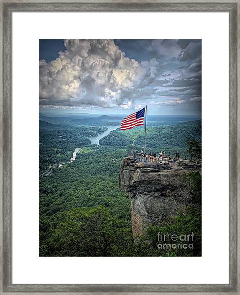 Old Glory On The Rock Framed Print