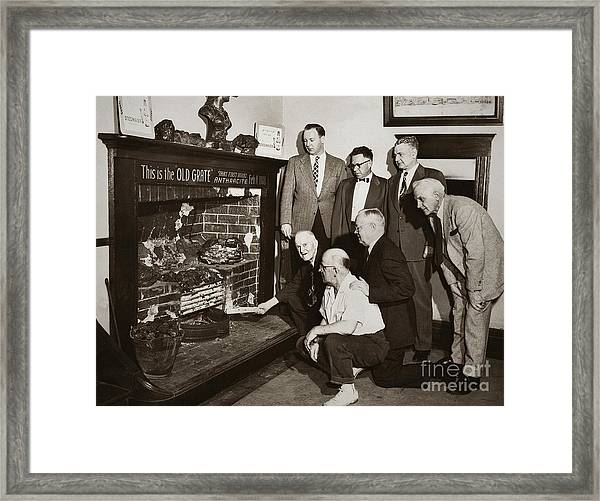Old Grate That First Burned Anthracite Coal Successfully In The Old Fell House Wilkes Barre Pa Framed Print