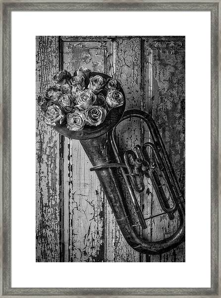 Old Horn And Roses On Door Black And White Framed Print