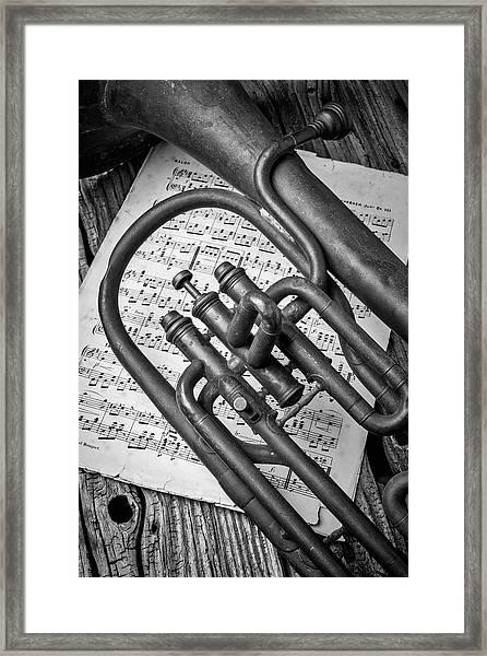 Old Horn And Sheet Music Framed Print
