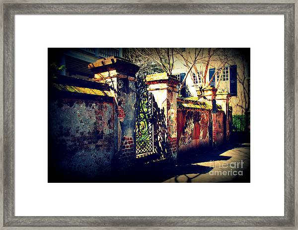 Old Iron Gate In Charleston Sc Framed Print