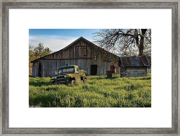 Old Jeep, Old Barn Framed Print
