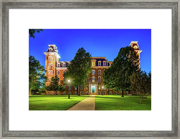 Old Main At Twilight - University Of Arkansas Framed Print