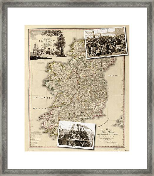 Vintage Map Of Ireland With Old Irish Woodcuts Framed Print
