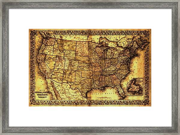 Old Map United States Framed Print