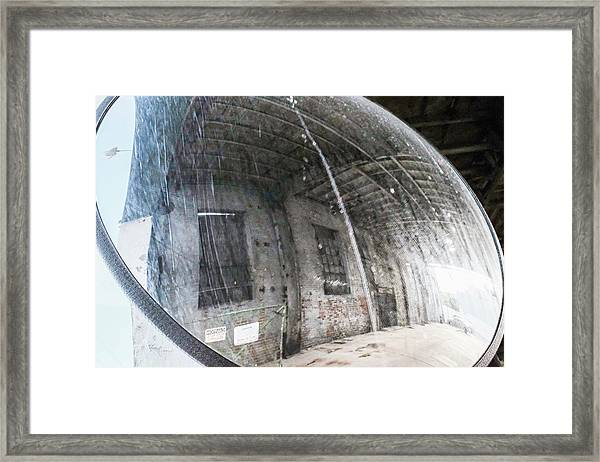 Old Mirror Near An Urban Parking Garage In Sheboygan Wisconsin Framed Print