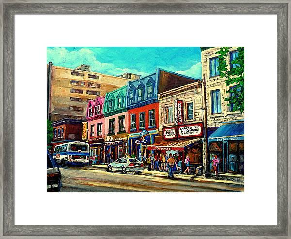 Old Montreal Schwartzs Deli Plateau Montreal City Scenes Framed Print
