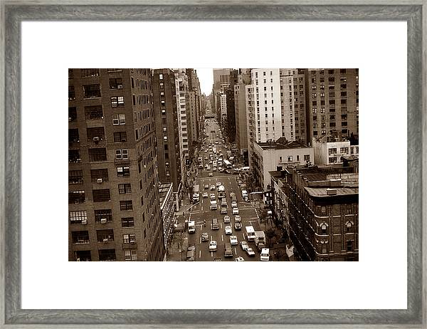 Old New York Photo - 10th Avenue Traffic Framed Print