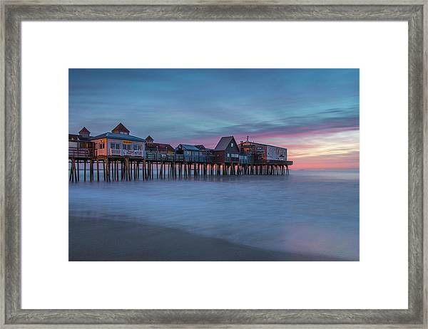 Old Orcharch Beach Pier Sunrise Framed Print