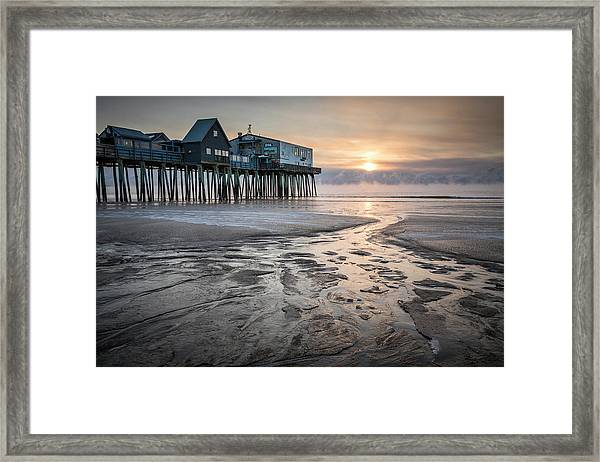 Old Orchard Beach Sea Smoke Sunrise Framed Print