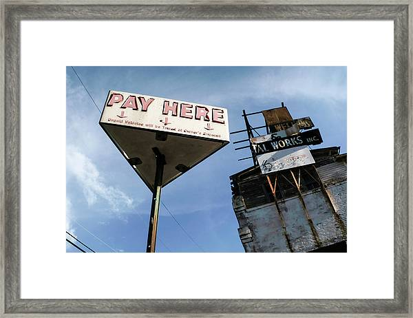 Old Pay Here Parking Sign Vintage Decay Framed Print