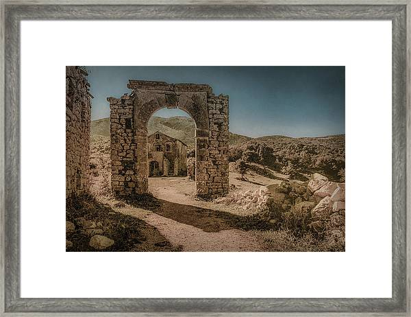Framed Print featuring the photograph Old Perithia, Corfu, Greece - Gate by Mark Forte
